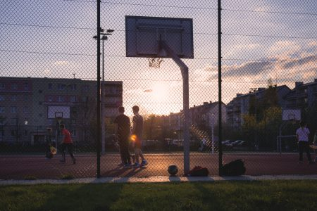 Kids playing basketball