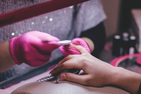 A manicurist at work