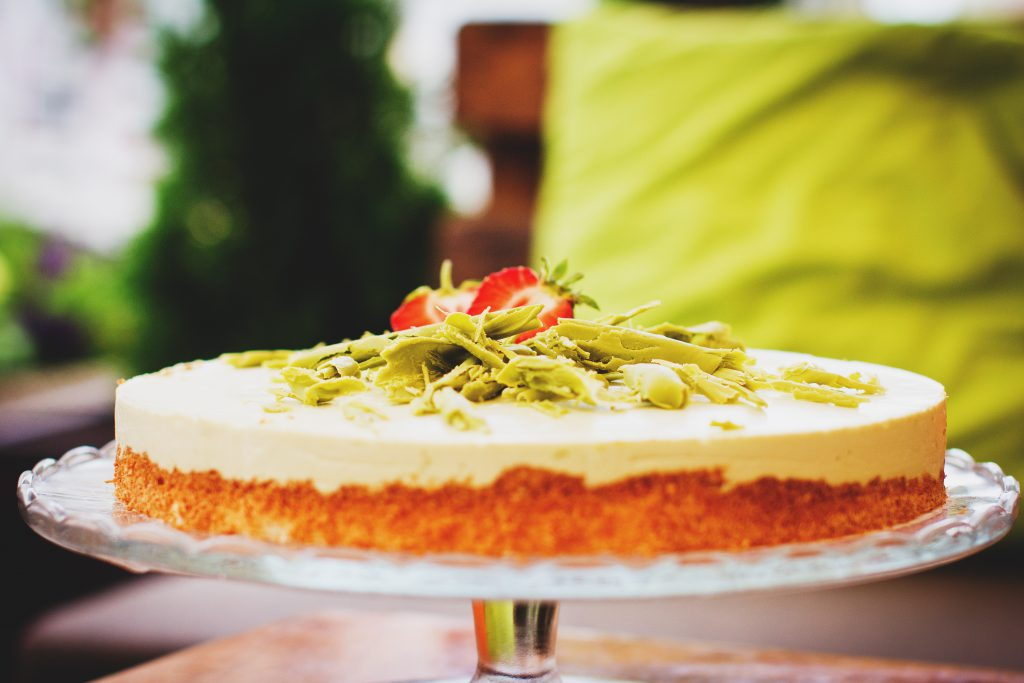 Cold cheesecake with green tea - free stock photo