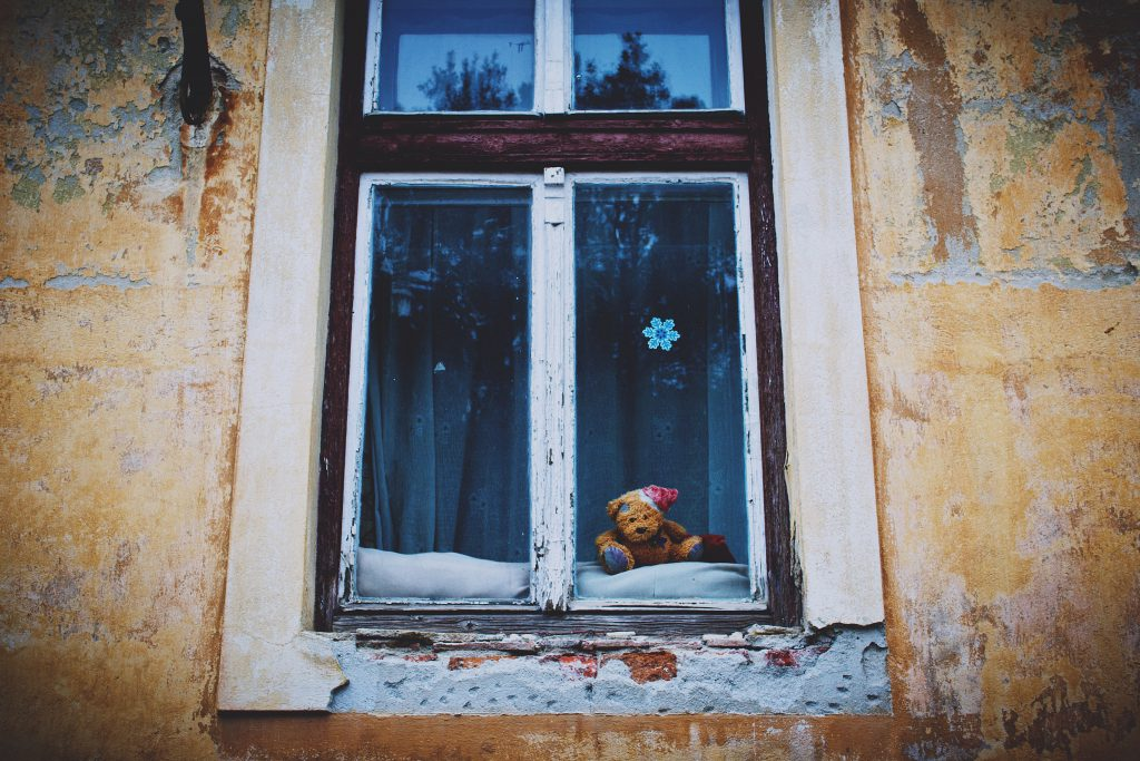 Teddy bear in the window - free stock photo