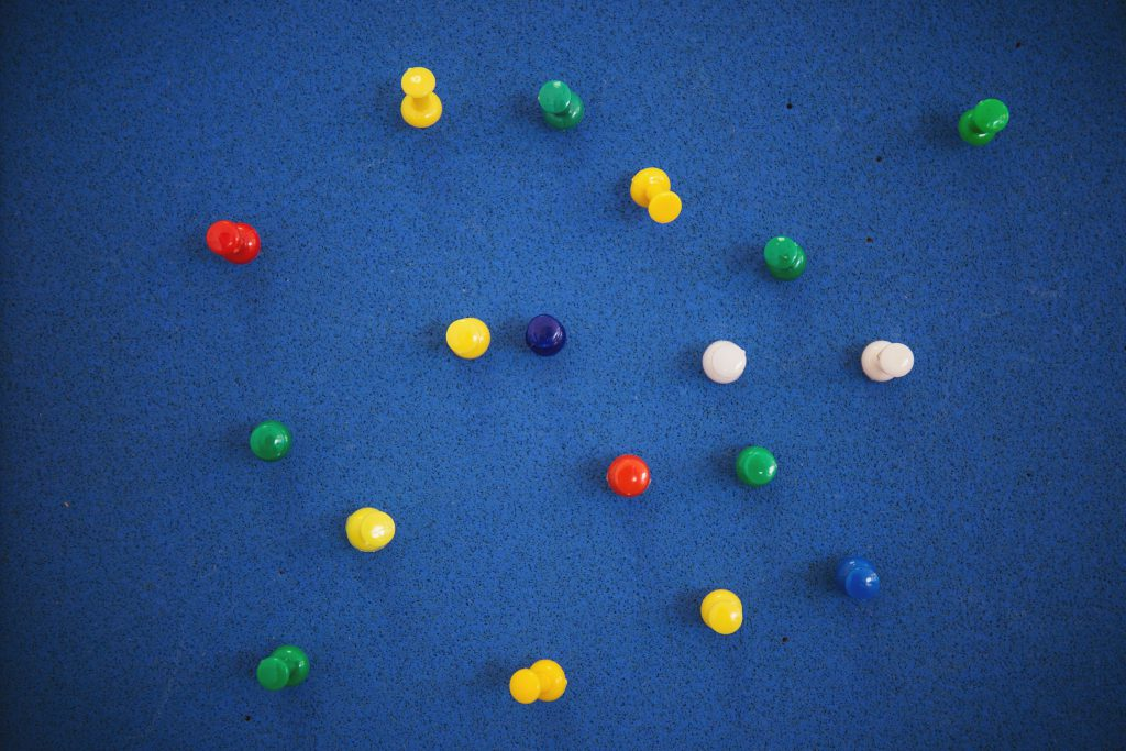 Colorful pins - free stock photo