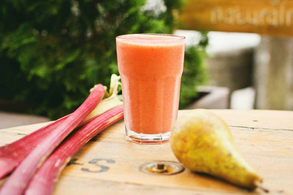 Pear and rhubarb smoothie 4 - free stock photo