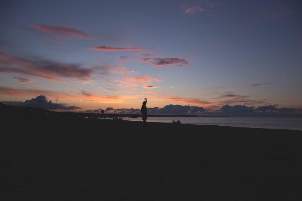 Sunset at seashore - free stock photo