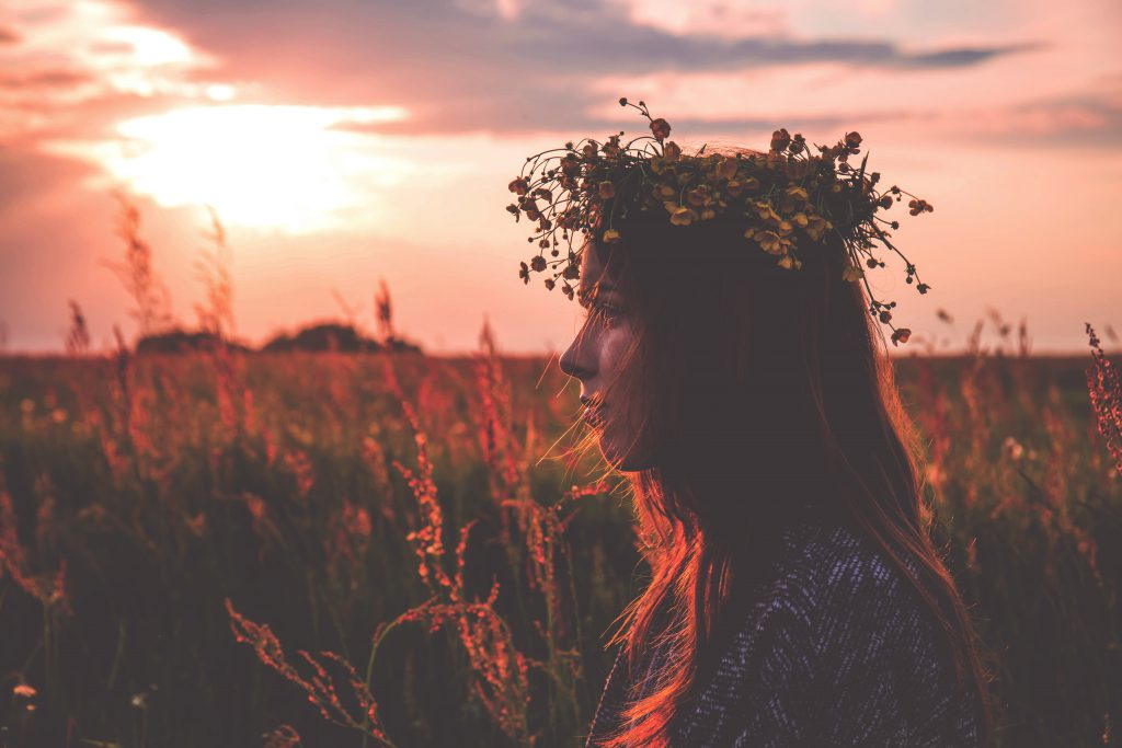 Young woman wearing a wreath - free stock photo
