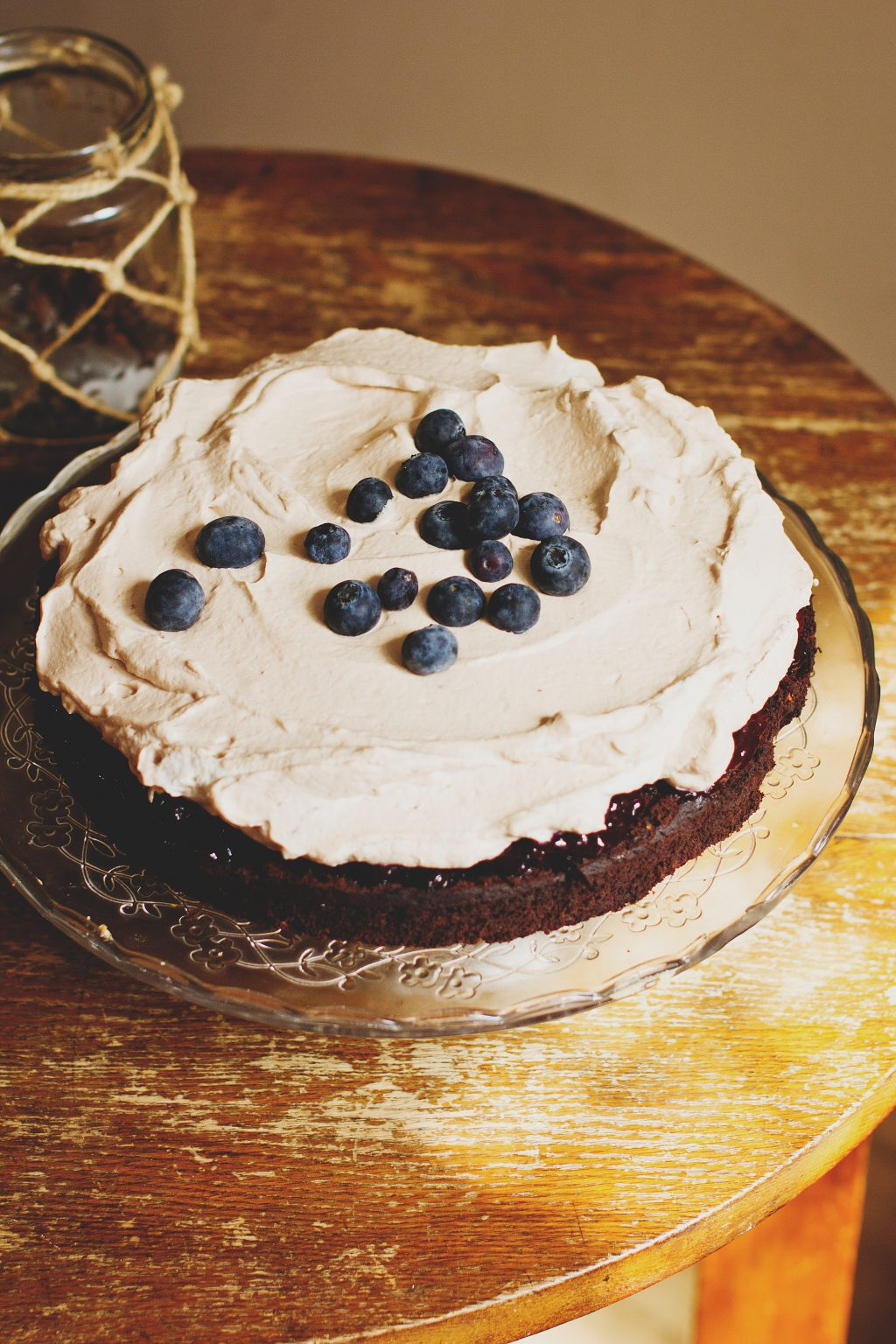 Brownie with high blueberries - free stock photo
