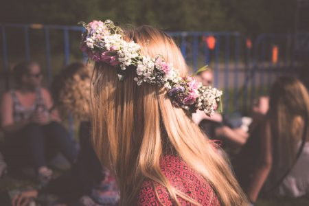 Girl wearing flowery crown - free stock photo