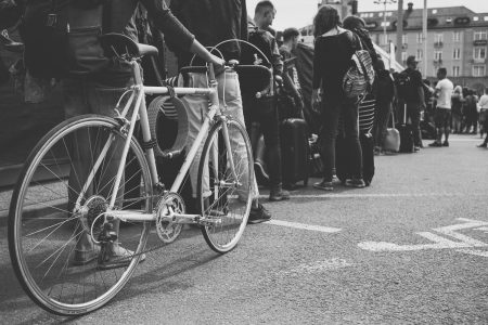 Long queue in black and white - free stock photo