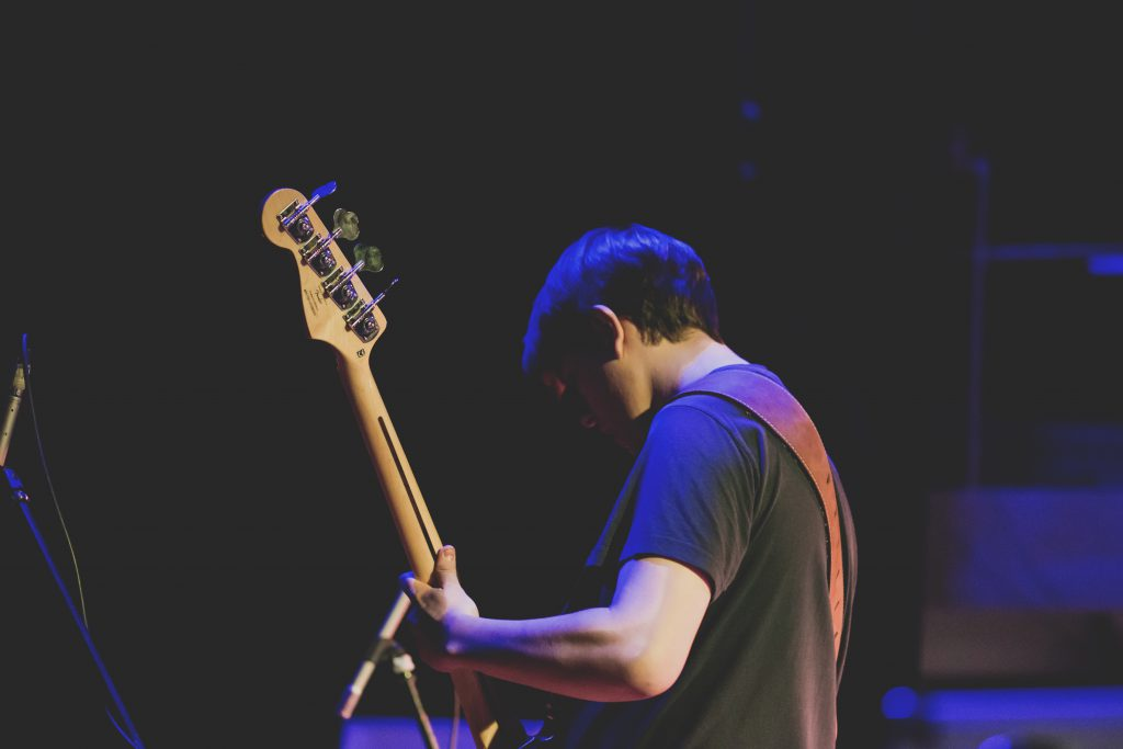 Man playing bass guitar - free stock photo