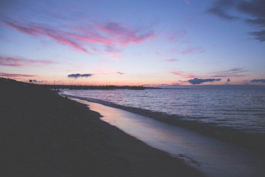 Sunset at seashore 2 - free stock photo