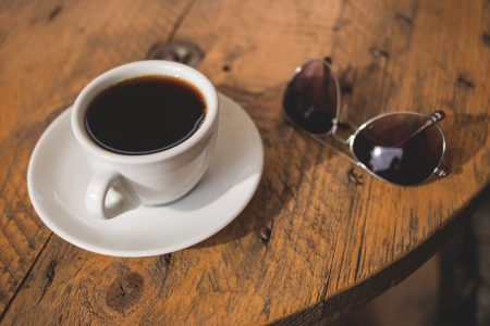 Black coffee and sunglasses - free stock photo