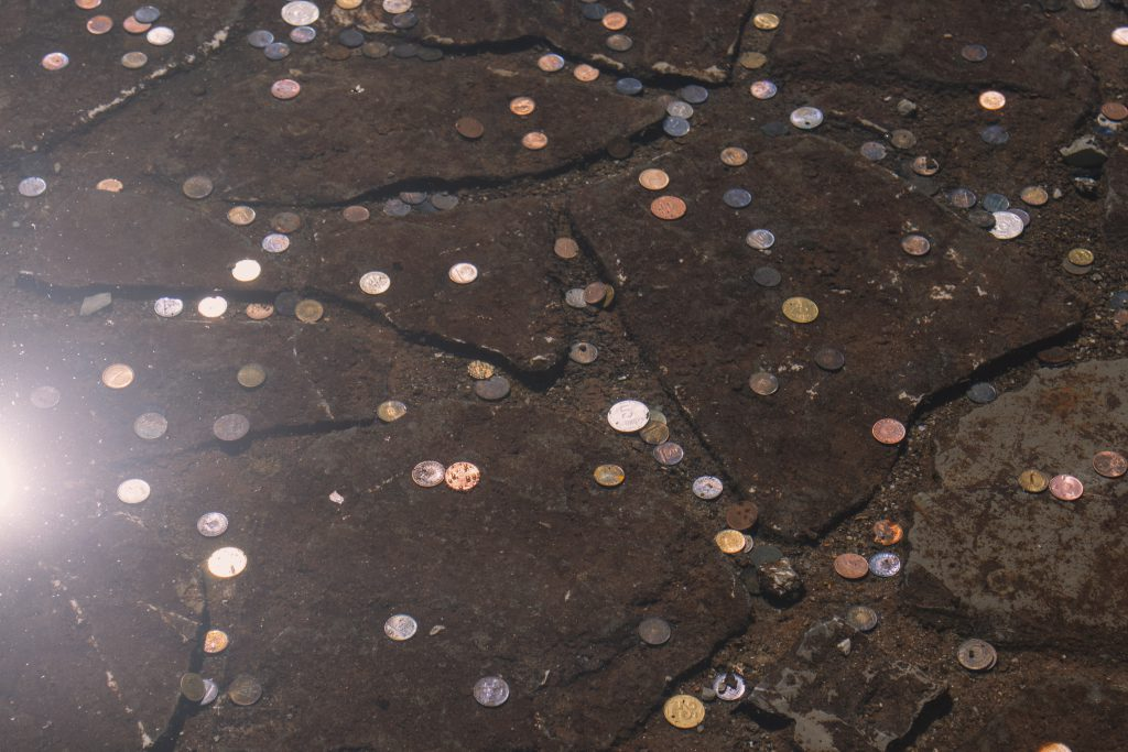 Coins in a fountain