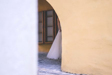 Fragment of a wedding dress - free stock photo