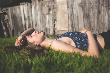 Girl laying on grass - free stock photo