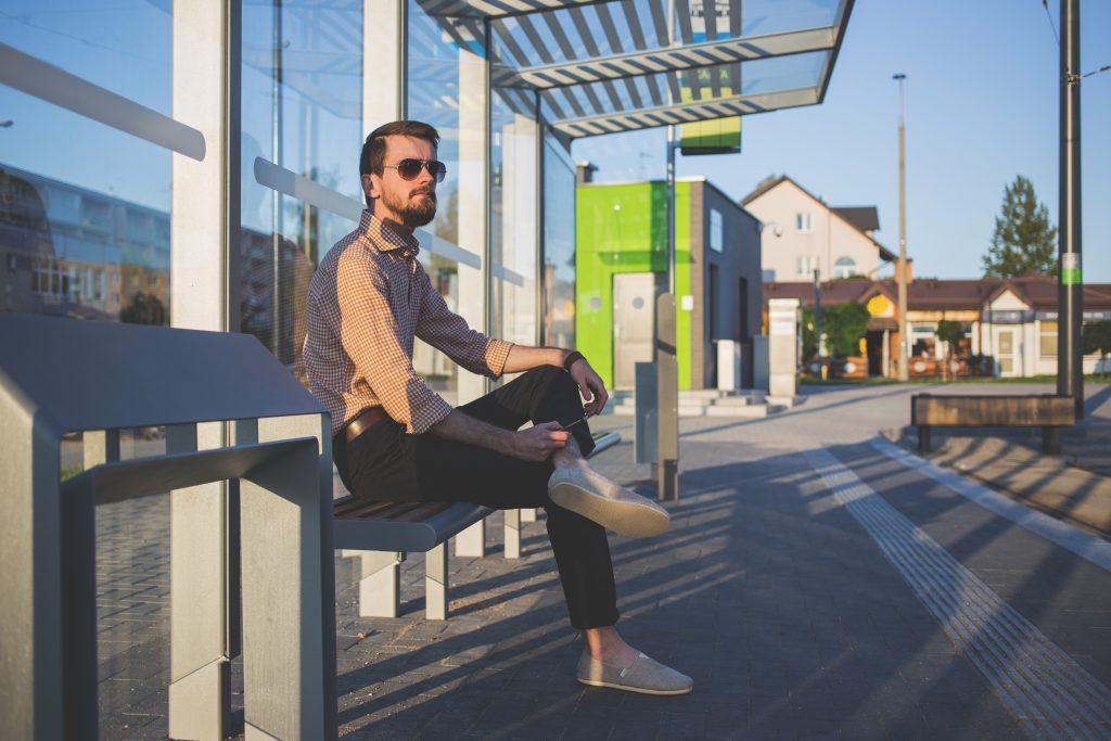 Man at tram stop - free stock photo