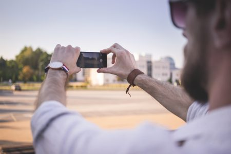 Man taking a picture - free stock photo