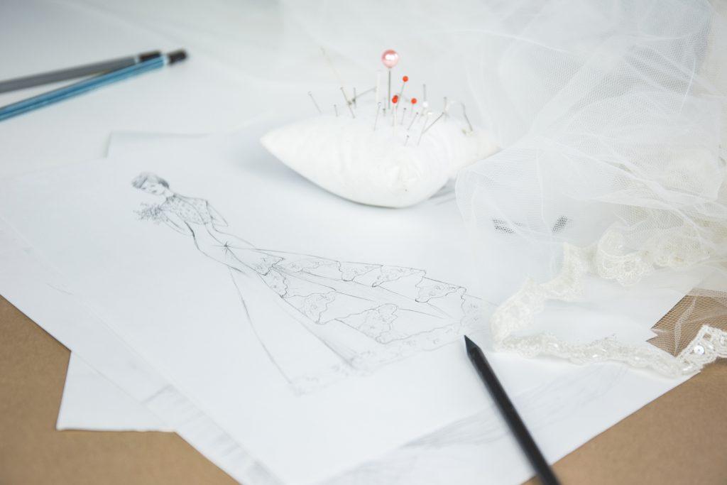 Wedding dress sketch - free stock photo