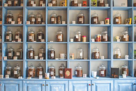 Blue tea cupboard - free stock photo