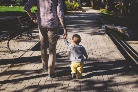 Father and son walking - free stock photo