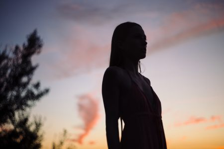 Girl at late sunset - free stock photo