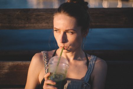 Girl drinking smoothie - free stock photo