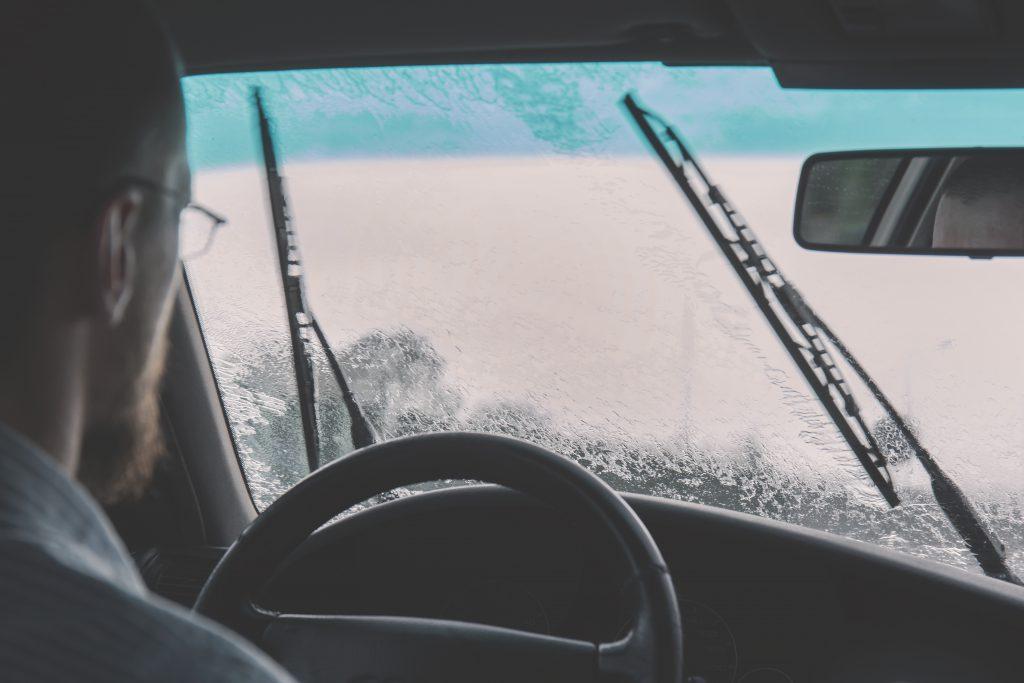 Man driving on a rainy day 2 - free stock photo