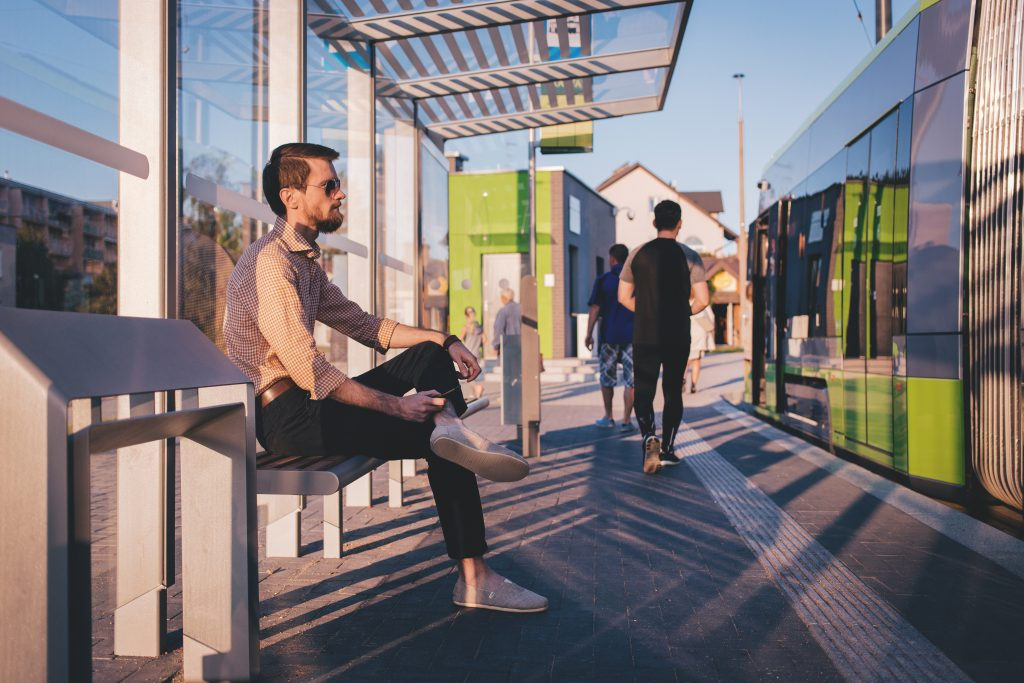 People at tram stop - free stock photo