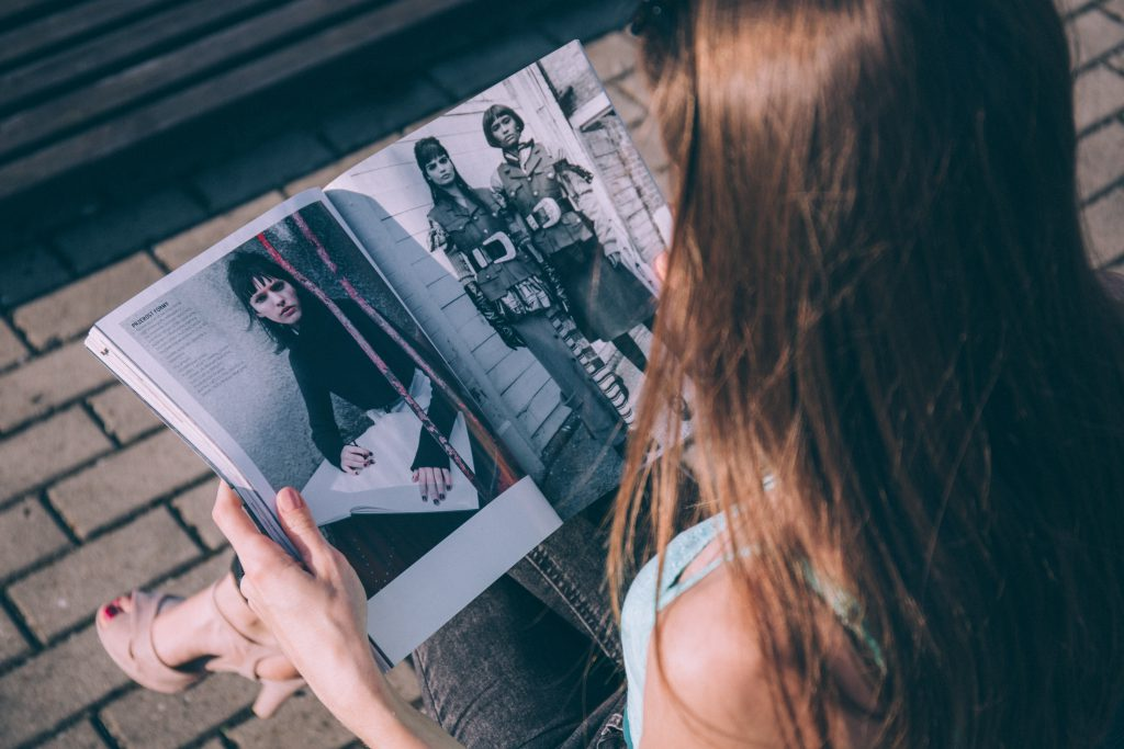 Girl reading a magazine 2 - free stock photo