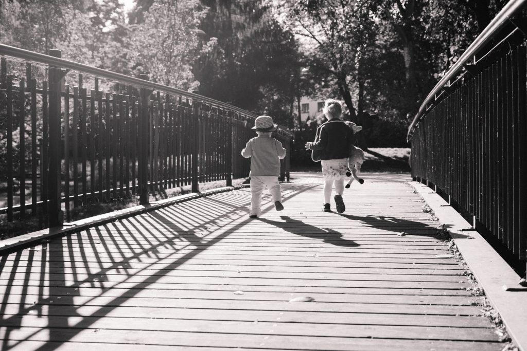 Kids running across the bridge 2 - free stock photo
