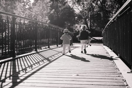 Kids running across the bridge 2 - free stock photo
