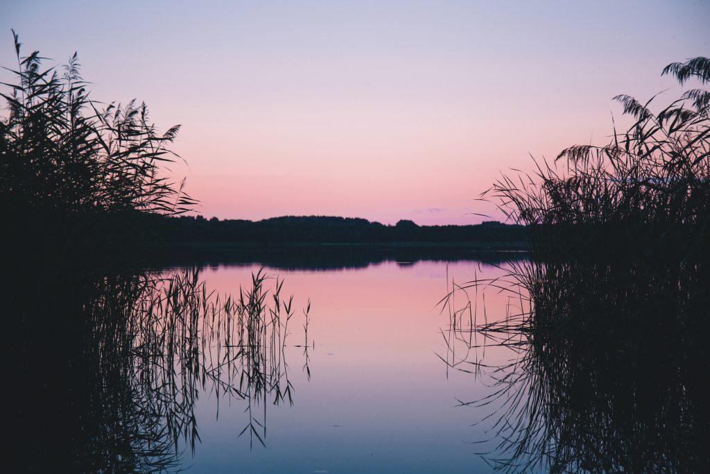 Late sunset at the lake - free stock photo