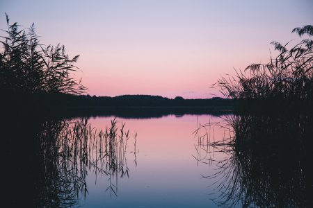 Late sunset at the lake - free stock photo