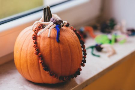 Preschool pumpkin decoration - free stock photo