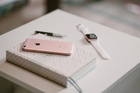 iPhone, iWatch and planner - free stock photo