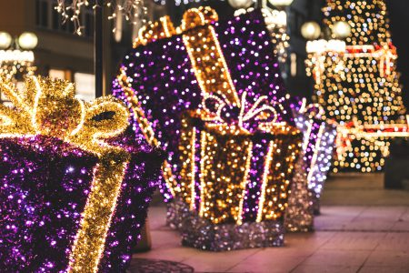 Christmas city decorations - free stock photo