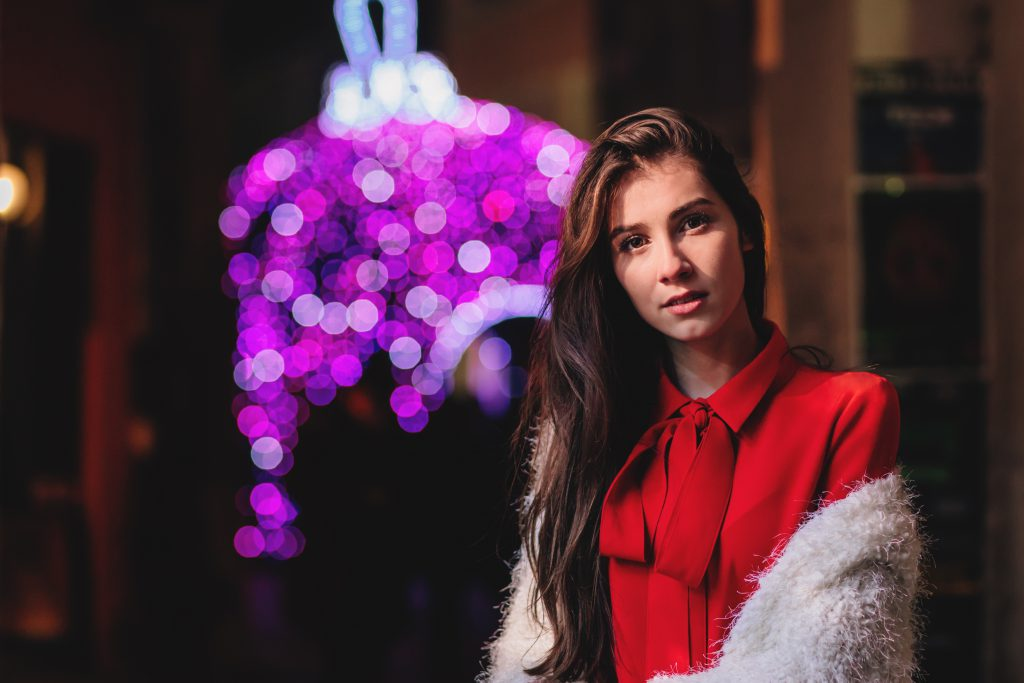 Christmas lady in red - free stock photo