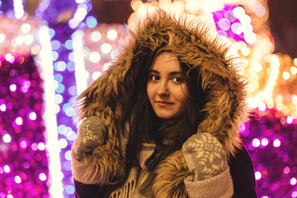 Christmas lights and hooded girl - free stock photo