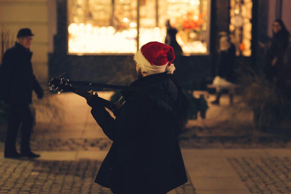 Christmas street guitar player - free stock photo