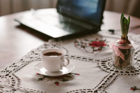 Cup of coffee, flower and laptop 2 - free stock photo