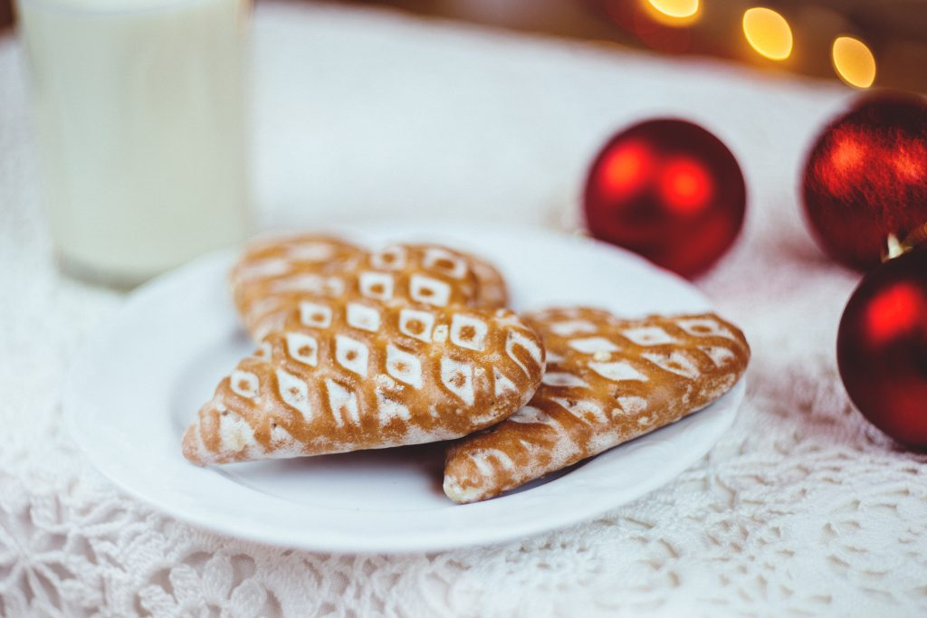 Gingerbread cookies and milk 3 - free stock photo
