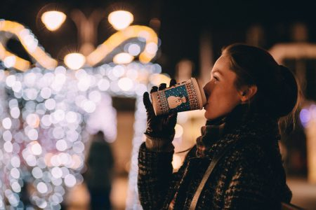 Girl drinking coffee in winter - free stock photo