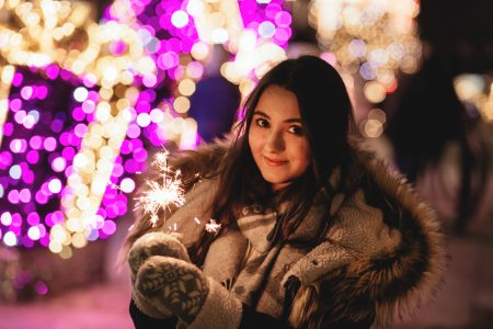 Girl holding a sparkler 2 - free stock photo