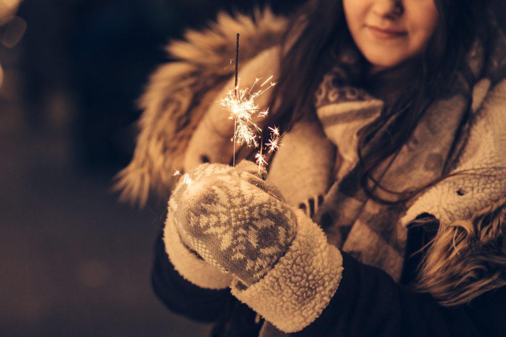 Girl holding a sparkler 3 - free stock photo