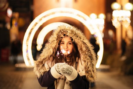 Girl holding a sparkler - free stock photo