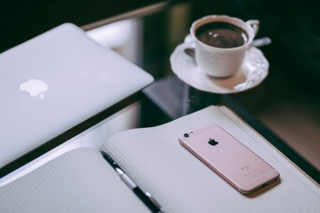 iPhone, MacBook and coffee - free stock photo