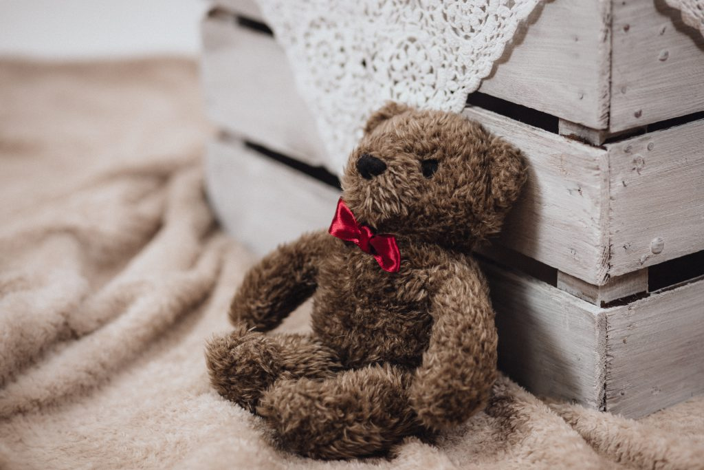 Teddy with red bow tie - free stock photo