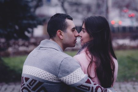 A couple about to kiss - free stock photo