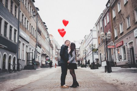 A couple with heart shape baloons 2 - free stock photo