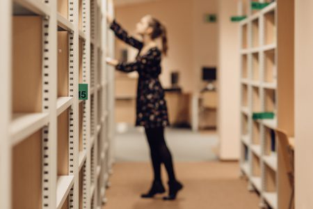 Girl in a library 3 - free stock photo