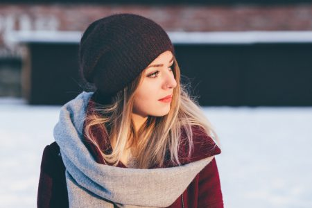 Girl winter portrait - free stock photo