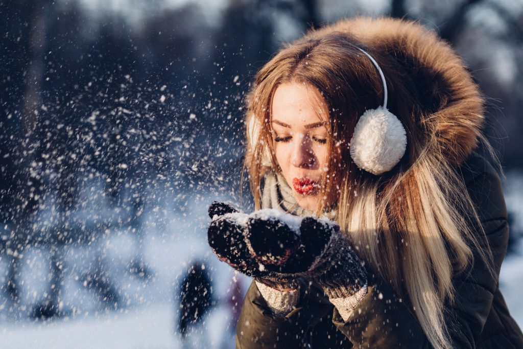 Snow in mittens - free stock photo